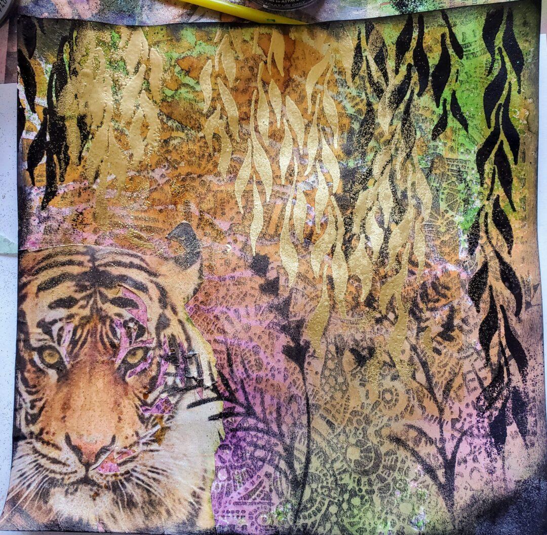 jungle art journalling page