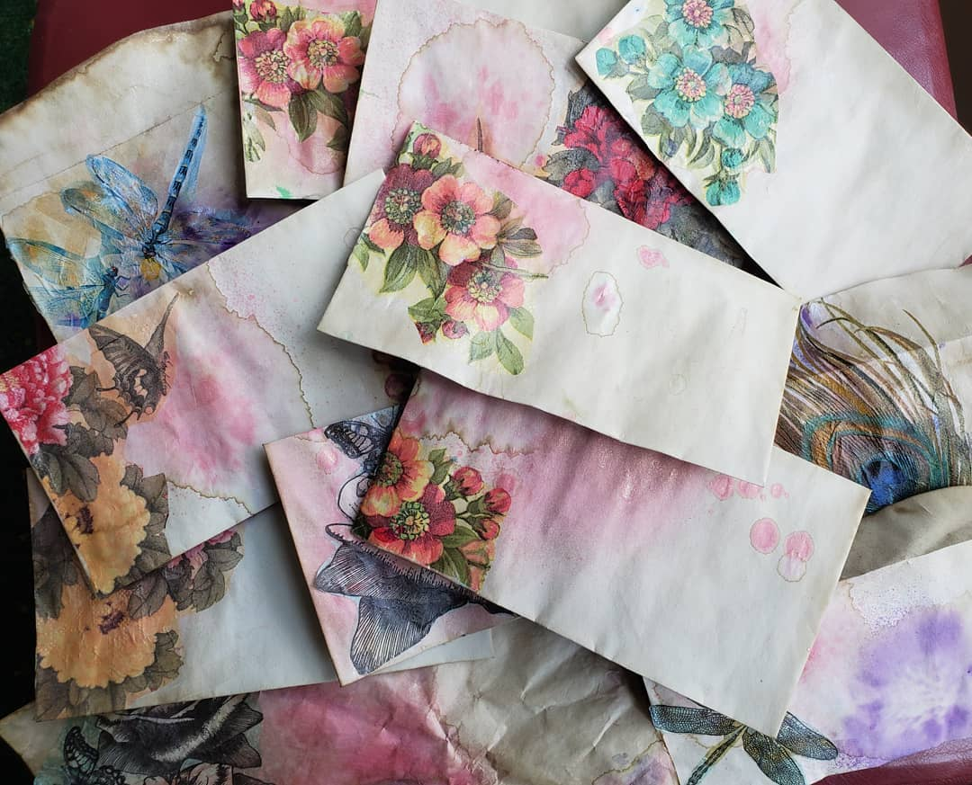 Tea stained decoupage envelopes