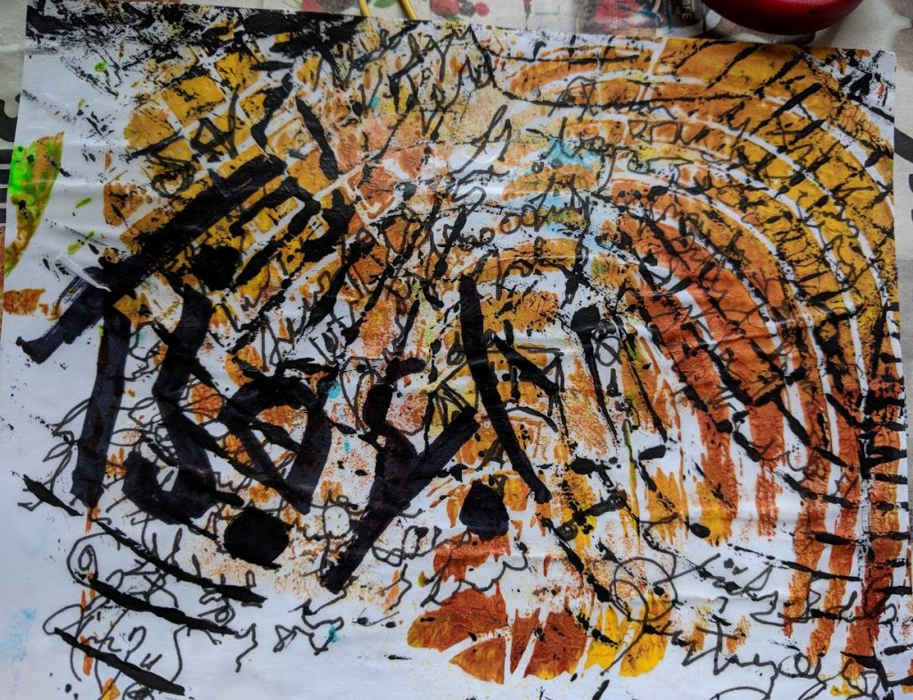 asemic writing postcard